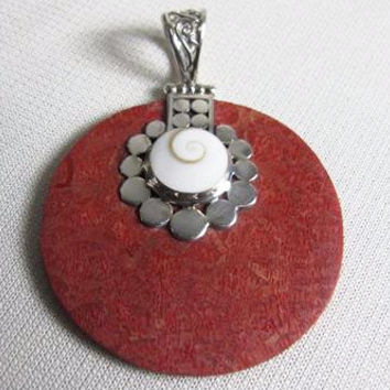 Multi- Shell and Silver Round Pendant