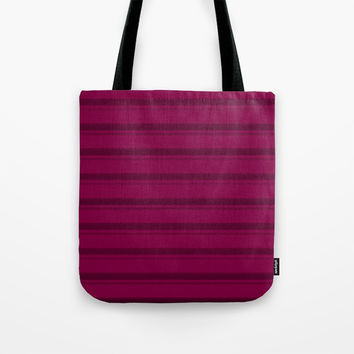 Magenta Wine Solid Stripes Tote Bag by Sheila Wenzel