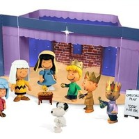 A Charlie Brown Christmas 2012 Peanuts Nativity Pageant Mini Figure Set with Fold-out Christmas Play