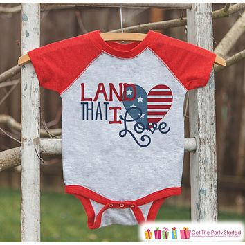 Kids Land That I Love Outfit - 4th of July Onepiece or T-shirt - Red Raglan Shirt, Baseball Tee - American Pride Shirt, Baby, Toddler, Youth