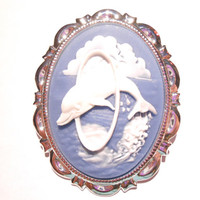 Jumping Dolphin Brooch - Large Oval Dolphins Cameo Pin - Nautical Coat, Hat and Scarf Pins - Big Bouquet Jewel