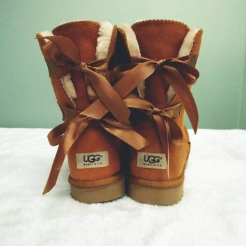 UGG Popular Women Winter Warm Two Bow Boots Boots Shoes Brown I