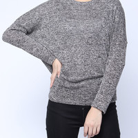 'The Jocelyn' Gray Batwing Sleeve Knitted Sweater