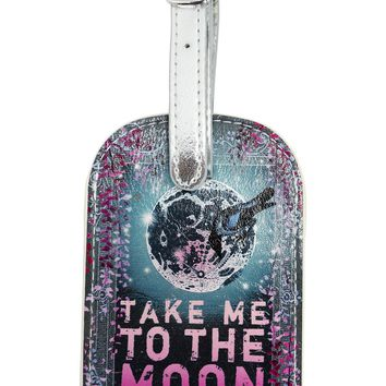 Papaya Art Take Me to the Moon and Back Again Graphic Art Luggage Tag