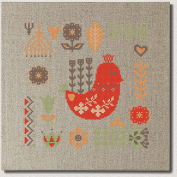 scandinavian Birds cross stitch pattern , Modern cross stitch pattern,nordic folk flower, floral home decor wall art