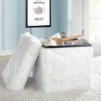 Collapsible Storage Cube Faux Fur Accent Home Mongolian Bedroom Dorm College