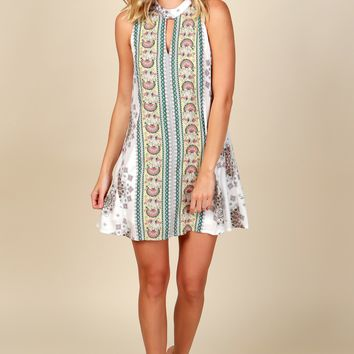 Spring Time Retro Print Dress Off White