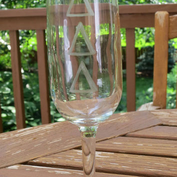 Delta Delta Delta Sorority Etched Champagne Glass