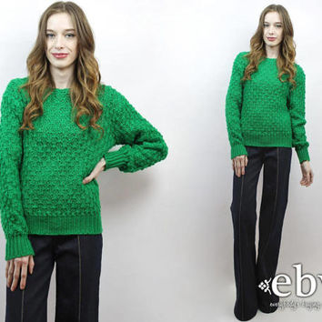 Green Sweater Vintage St Patrick's Day Green Knit Green Jumper Kelly Green Sweater 70s Sweater Open Weave Sweater 1970s Sweater S M L