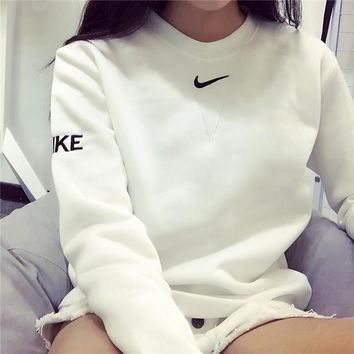 Embroidery Pullover Winter Alphabet Simple Sports Hoodies [11877134867]