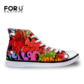 High Quality Star Canvas Shoes for Women Hip Pop Graffiti All Ankle Shoes Zapatos Mujer Breathable Flats Chaussure Femme