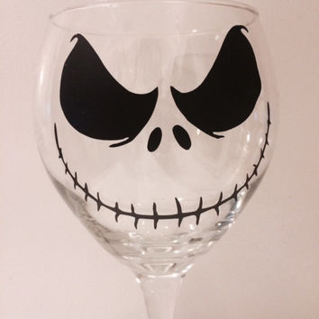 Jack Wine Glass, Skeleton Wine Glass, Gothic Home Decor, Halloween Table Decor, Custom Jack Wine Glass, Nightmare Wine Glass, Holiday Decor