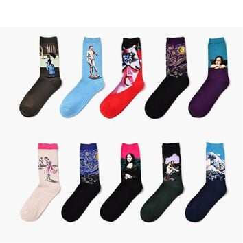 Autumn Winter Women New Personality Socks Art Retro World Famous Painting Series Women's Socks Ladies Fashion Funny Socks