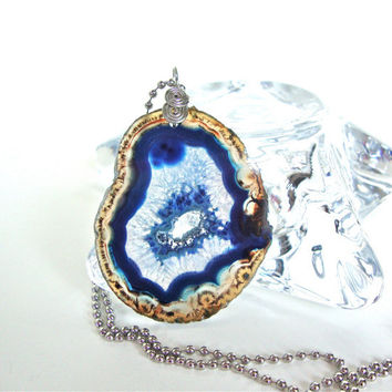 Blue agate slice necklace - grey and blue agate necklace - agate druzy necklace by Sparkle City Jewelry