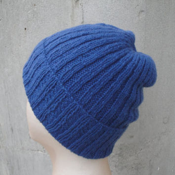 Knit Cashmere Hat, Medium Blue, Beanie Watch Cap, Luxury, Gift for Him Her