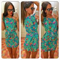 Women's Casual Summer Floral Print Short Dress Skirt