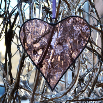 Stained Glass Heart pink pale purple Suncatcher, Window decor, Wall decor / hanging, Glass art, Home decor, Decoration, Ornament, Gift idea