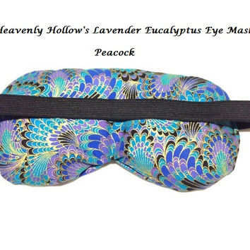 Eye Mask Lavender Eucalyptus, Sinus, Herbal Pack, Hot Cold Pack, Heat Wrap,Organic, Flax Seed, Microwave Therapy,  Peacock