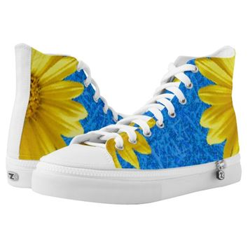 yellow flower High-Top sneakers
