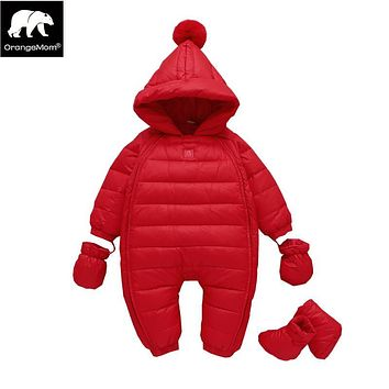 winter 2018 New Year Baby jumpsuits red christmas holiday feather down jackets for girls clothing with hooded baby boy rompers