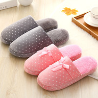 Couple Cotton Lovely Soft Winter Anti-skid Slippers [9067740548]