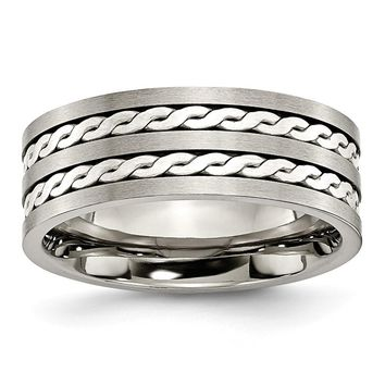 Men's Titanium Sterling Silver Inlay Brushed and Antiqued Wedding Band Ring