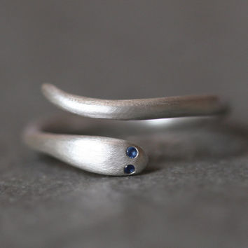 Baby Snake Ring in Sterling Silver with Blue Sapphires