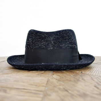 50s GLOBUS Mohair Jazz Hat. Pork Pie Wool Hat. Bradford. Nurnberg Germany. Size 55