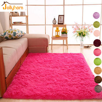 Long Hair Solid Carpet Shaggy Area Rugs Anti-Slip Carpets for Living Room Bedroom Hotel Rectangle Carpet-Accept Custom