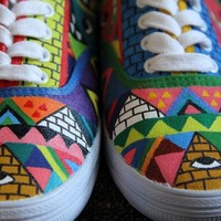 TuT TuT Fashion — Azetc Triangles Handpainted shoes (Order to make)