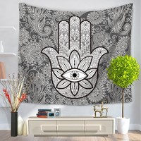 130cmx150cm Hamsa Hand Tapestry Indian Mandala Floral Wall Hanging Tapestry for Home Psychedelic Bedspread Picnic Blanket