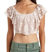 Ruffled Lace Flounce Crop Top by Charlotte Russe - Ivory