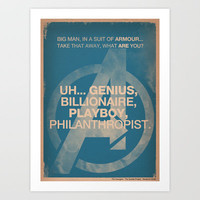 Tony Stark from The Avengers Art Print by The Quotes Project