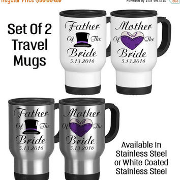 Travel Mug, Father Of The Bride Mother Of The Bride Set TopHat Dress, Gift Idea, Stainless Steel 14 oz Coffee Cup