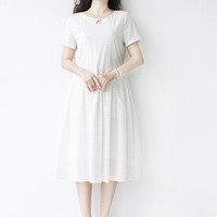 floral white summer leisure dress cotton summer new women clothing party dress tunic dress Q14183