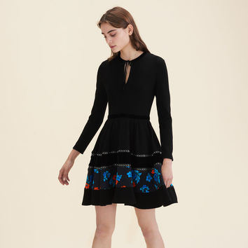 RAFA Mixed fabric skater dress