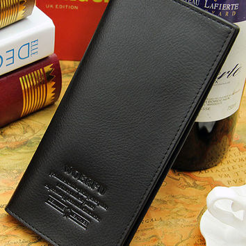 Men's Business Wallet Letters Pattern Embossed Leather Card Pack