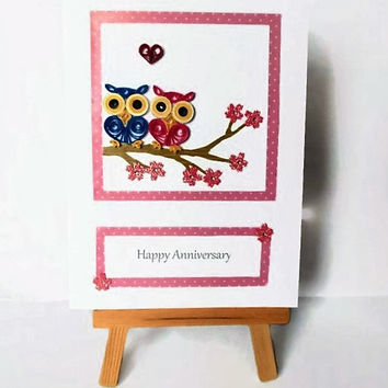 Owls Anniversary card, Anniversary card, quilled card, quilling card, love card, handmade card, greeting card, owls card, quilled owls