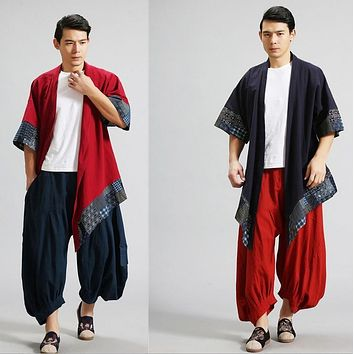 Spring Chinese Style cotton linen wind breaker patchwork raincoat mianyiwaitao coat Trench Coat Overcoat  6colors