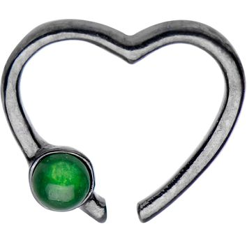 Black IP 925 Silver Venturine Heart Right Daith Cartilage Tragus