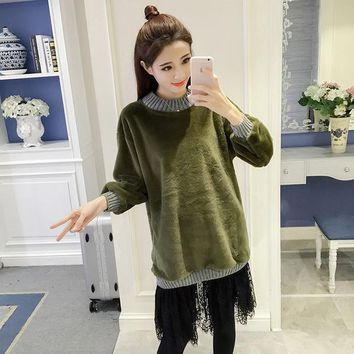 CREYL Womens winter Elegant Furry thick warm lace Fake Two Piece Stitching dress Loose Casual Vintage dress black green pink