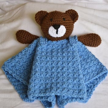 Crochet Lovey Security Blanket Buddy Bear READY TO SHIP