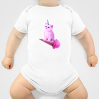 Custom One Piece Baby Body Suit Funky Catsterz Kitty Unicorn Ice Cream Cone