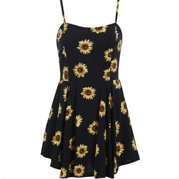 2016 Fashion Summer Women Print Cami Dress Floral Sleeveless Sling Mini Casual Dresses Sunflower