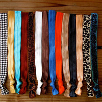 14 Headbands in Fall/Holiday 2012 Fashion Colors - Ribbon Elastic Headbands - Choose Adult, Child or Baby Size