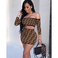 FENDI Fashion Women F Letter Print Off Shoulder Top Skirt Set Slim Two-Piece