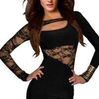 Amour-Sexy Flirty Black Strings One Shoulder Romper Clubwear Disco Gogo (AF5428:Black)One Size fits XS to M