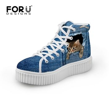 Stylish Womens Cute Casual Denim Printed Shoes for Ladies,