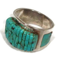 Native American Handmade Pure Silver Ring, Made on American South Western Reservation
