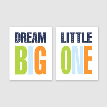 Kid Bathroom Art Prints // Boys Bathroom Decor // Child Bathroom // Colorful Wall Art // Colorful Prints // Dream Big Little One Sign